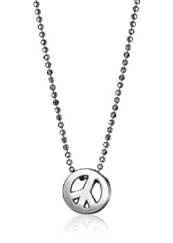 Alex Woo  - Sterling Silver Peace Sign Pendant Necklace