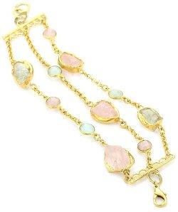 Zariin  - Amethyst and Rose Quartz Gold Bracelet