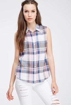 Forever21 - Madras Plaid Buttoned Shirt