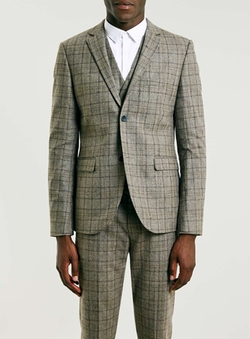 Topman - Brown Check Skinny Fit Three Piece Suit