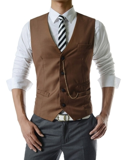 Thelees - Mens Slim Fit Chain Point Vest