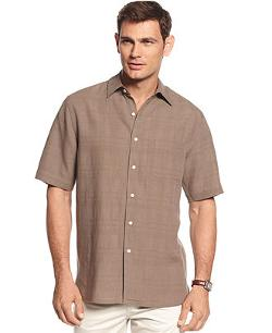 Tasso Elba  - Island Piece Dyed Plaid Textured Silk-Linen Blend Shirt