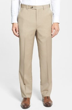 Berle  - Self Sizer Waist Flat Front Wool Trousers