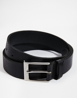 Asos - Smart Belt In Black Embossed Leather