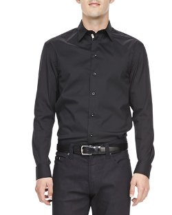 Armani Collezioni	  - Poplin Grosgrain-Placket Dress Shirt