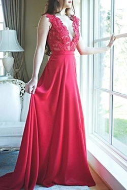 Stephanie D Couture - Angelina Red Lace Gown