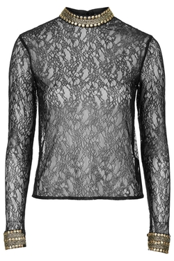 Topshop - Sheer Lace Embellished Top