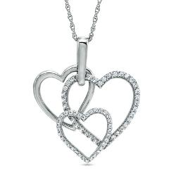 Zales - Lab-Created White Sapphire Triple Heart Pendant in Sterling Silver
