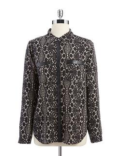 DKNYC  - Patterned Button-Up Blouse