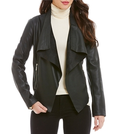 Collection B - Drape-Front Faux-Leather Jacket