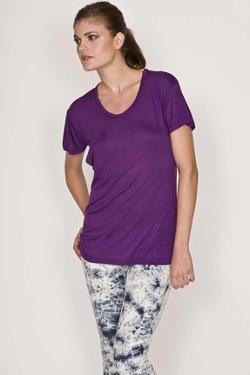 K Allyn  - Short Sleeve Pocket Crew Tee in Purple