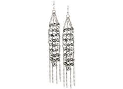 Kenneth Cole  - Silver-Tone Threaded Crystal Chandelier Earrings