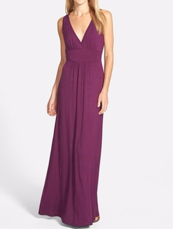 Loveappella - V-Neck Jersey Maxi Dress