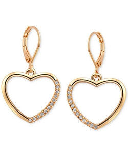 T Tahari - Crystal Heart Drop Earrings