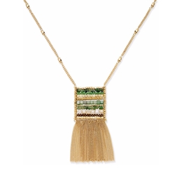 INC International Concepts - Gold-Tone Woven Bead Fringe Pendant Necklace