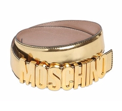 Moschino   - Logo Lettering Laminated Leather Belt