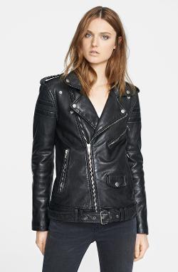 Blk Dnm  - Lambskin Leather Biker Jacket