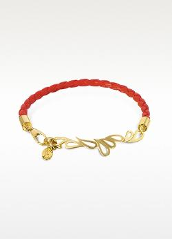 Sho London  - Mari Fiendship Leather And Silver Vermeil Bangle