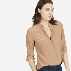 Everlane - The Modern Silk Point Collar Top