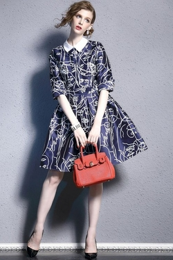 Asvogue - Floral Pattern Collar Dress