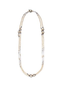 Miriam Haskell   - Double Pearl Station Crystal Bead Necklace