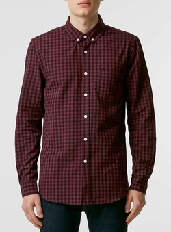 Topman - Burgundy Gingham Long Sleeve Casual Shirt