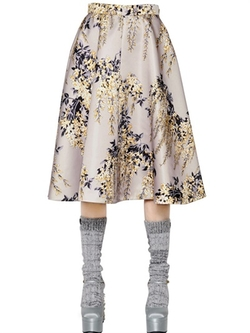 Rochas  - Floral Printed Duchesse Midi Skirt