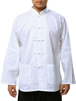 Bitablue - White Linen/cotton Blend Chinese Shirt