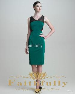 Faithfully - Elegant Black Dark Green Sheath Lace Satin Prom Dress V Neck Knee Length Cap Sleeve v Back NMT5JPS
