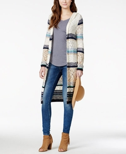 American Rag  - Mixed-Knit Hooded Duster Sweater
