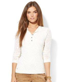Lauren Ralph Lauren  - Sheer Floral Henley Shirt