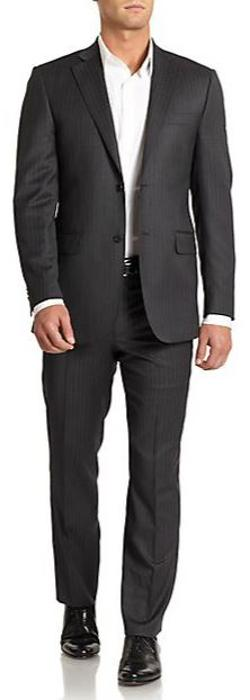 English Laundry  - Striped Wool Slim-Fit Suit