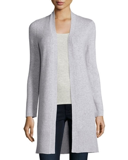 Neiman Marcus Cashmere Collection - Long Rib-Trimmed Open-Front Cashmere Cardigan