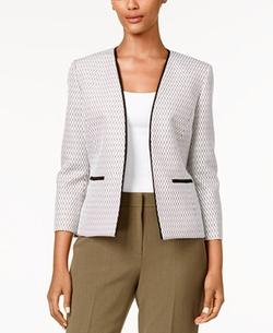 Kasper  - Piped Tweed Open-Front Jacket