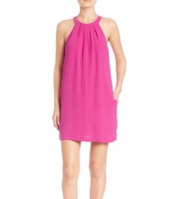 BCBGMaxazria - Tristyn Pleated Halter-Neck Dress