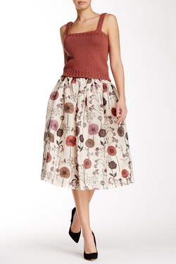 Jill Stuart  - Olivie Silk Midi Skirt
