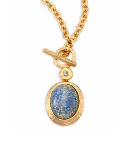 Kenneth Jay Lane - Opal & Crystal Toggle Pendant Necklace