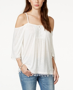 American Rag  - Crochet-Trim Cold-Shoulder Top