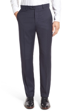 Monte Rosso  - Flat Front Solid Wool Trousers