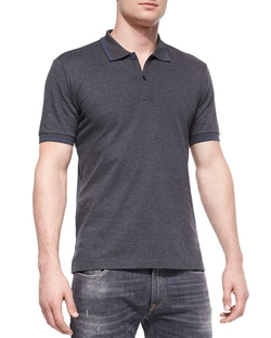 Dolce & Gabbana - Tipped Short-Sleeve Polo Shirt, Charcoal