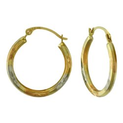 JC Penney - 14K Gold Tri-Tone Hoop Earrings