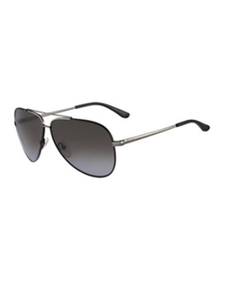 Salvatore Ferragamo - Aviator Sunglasses, Gunmetal/black