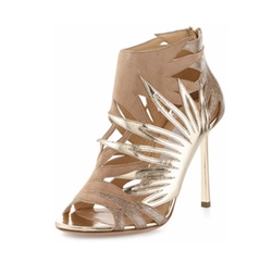 Jimmy Choo - Lissy Cutout Metallic Leather Sandals