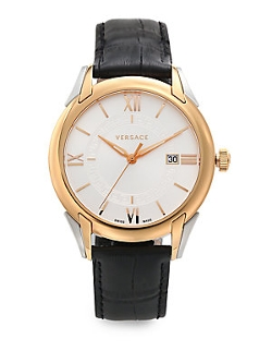 Versace  - Apollo Rose Goldtone Stainless Steel & Leather Watch