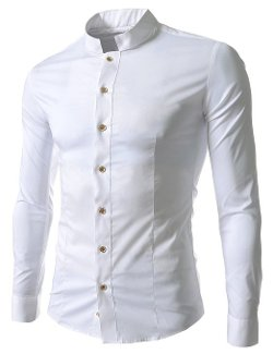 Siik World - Slim Fit Stand Collar Shirt