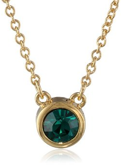 T Tahari - Gold and Emerald Pendant Necklace