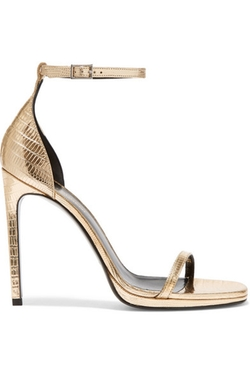 Saint Laurent  - Jane Metallic Lizard Effect Leather Sandals