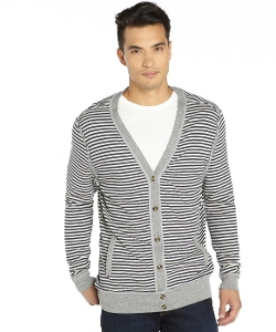 Cohesive  - Navy And White Cotton Knit Cardigan