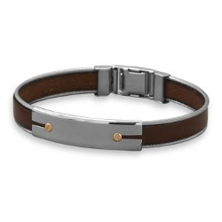 MMA001 - Stainless Steel And Leather Men