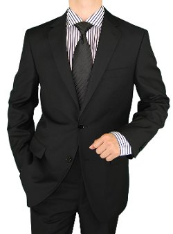 Salvatore Exte - 2 Button Pure Black Suit